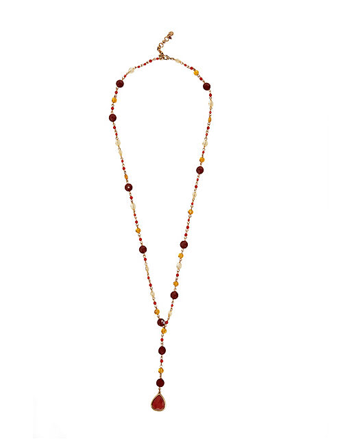 CARNELIAN ROSARY NECKLACE, 715 GOLD