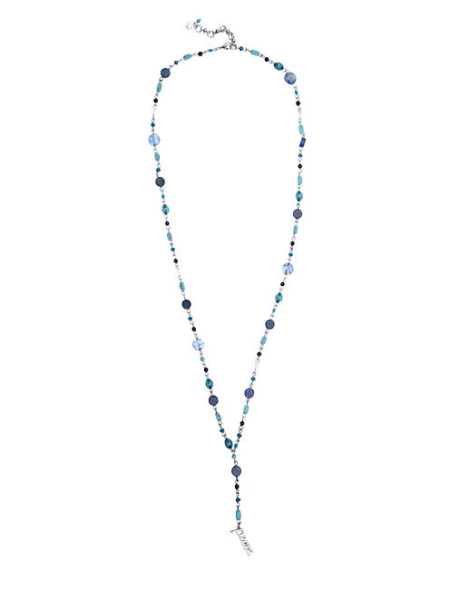 BLUE ROSARY NECKLACE, SILVER