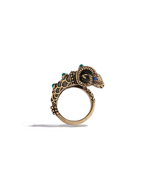 RAM WRAP RING, 715 GOLD