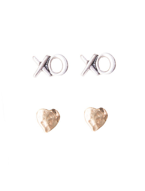 STUD- HEART XO STUD SET, MULTI