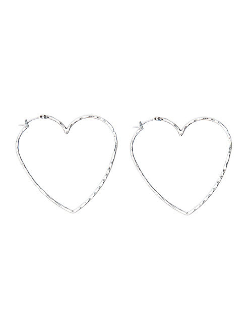 LARGE HEART HOOP EARRING, SILVER