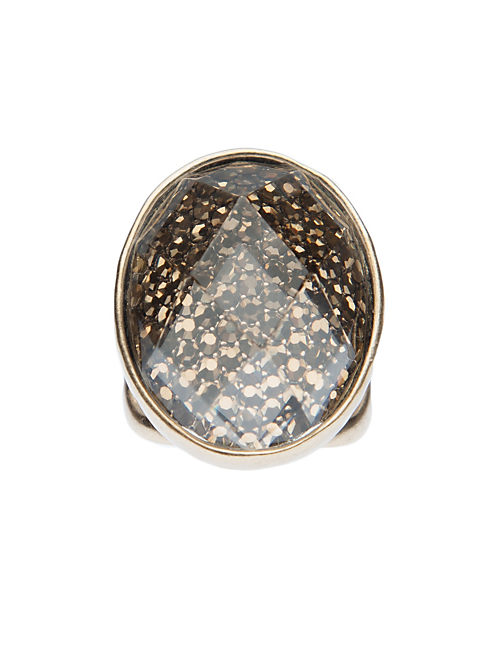 GOLD PAVE STONE RING, 715 GOLD