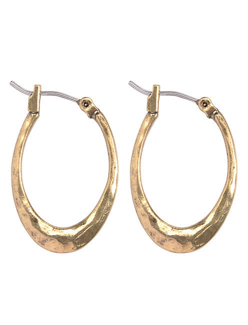 SMALL HAMMERED HOOP, 715 GOLD