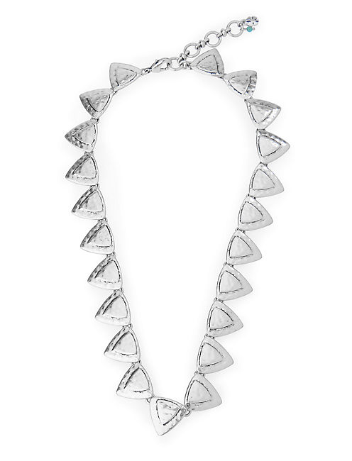 TRIANGLES COLLAR NECKLACE, SILVER