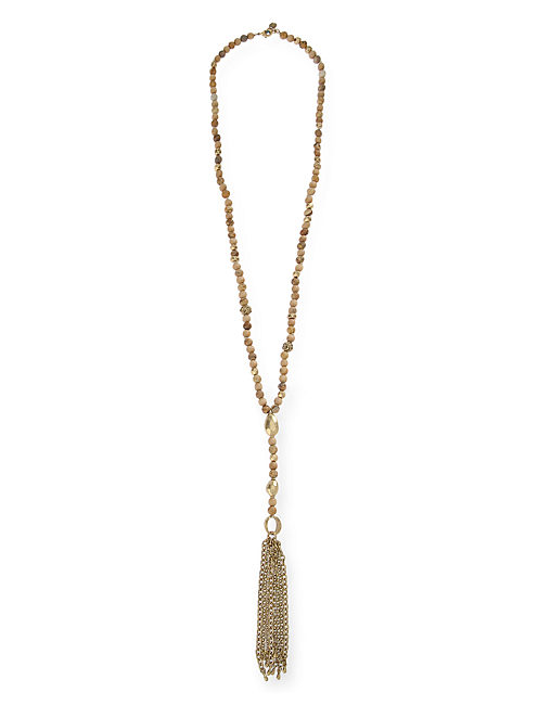 BEADED TASSLE NECKLACE, 715 GOLD