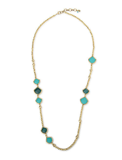 LONG SET STONE NECKLACE, 715 GOLD