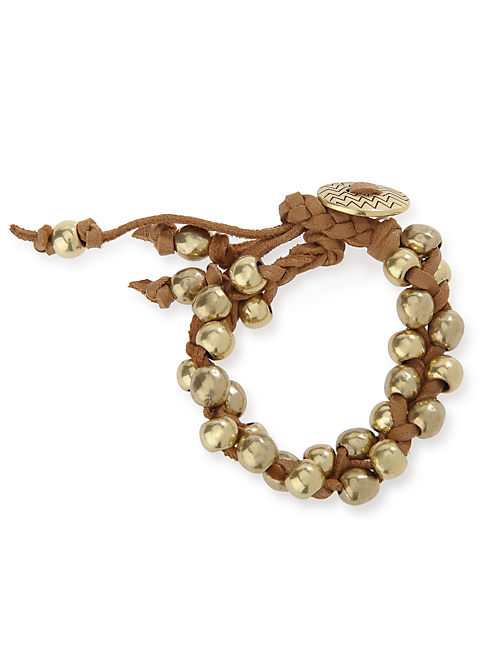KNOTTED BEADED BRACELET, 715 GOLD