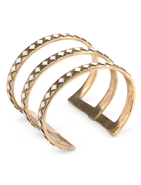 DIAMOND PATTERN CUFF, 715 GOLD