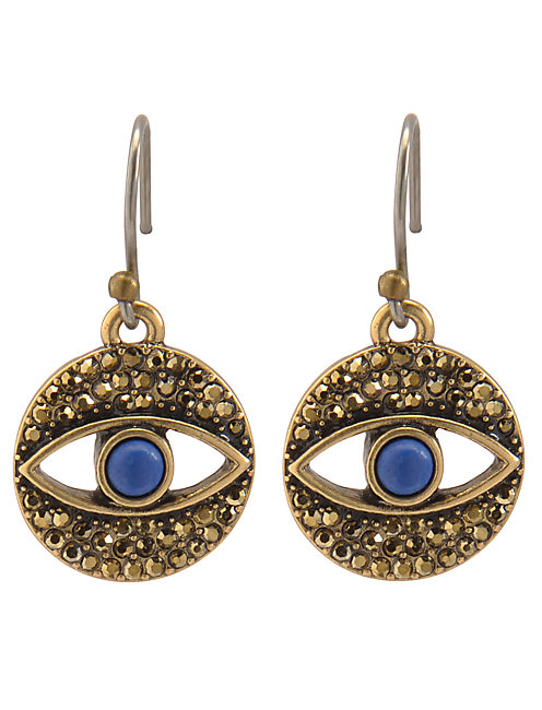 EVIL EYE EARRINGS, 715 GOLD