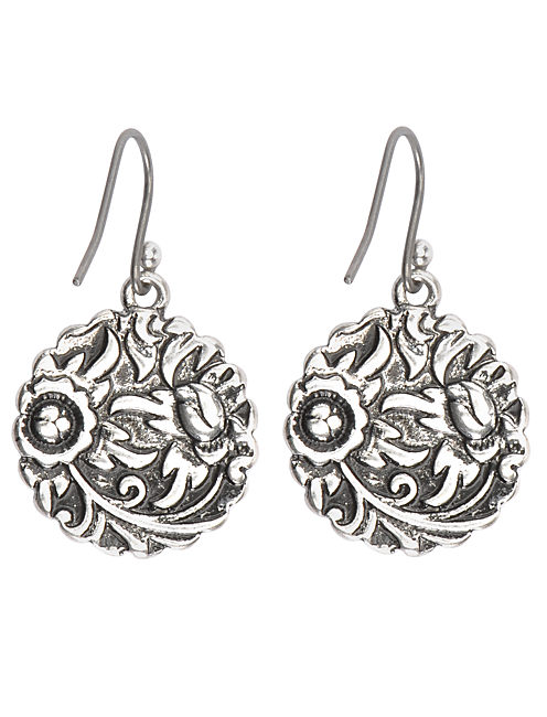 TRIBAL DROP EARRING, SILVER