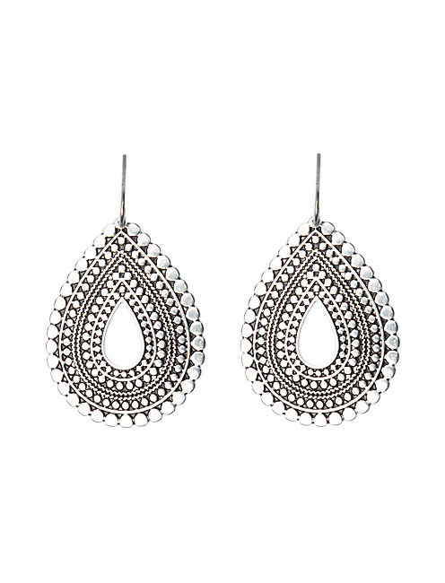 TRIBAL TEARDROP EARRING, SILVER