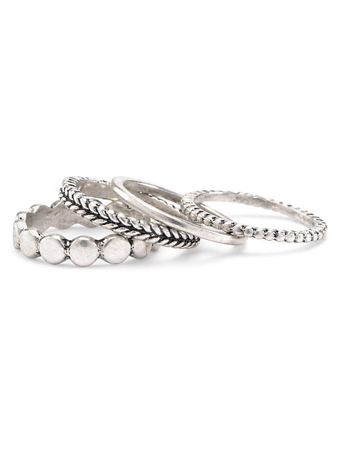 TRIBAL STACK RING SET, MEDIUM GREY