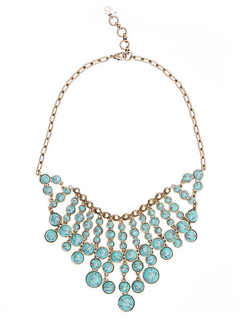 OVERSIZED STONE NECKLACE, TURQUOSIE
