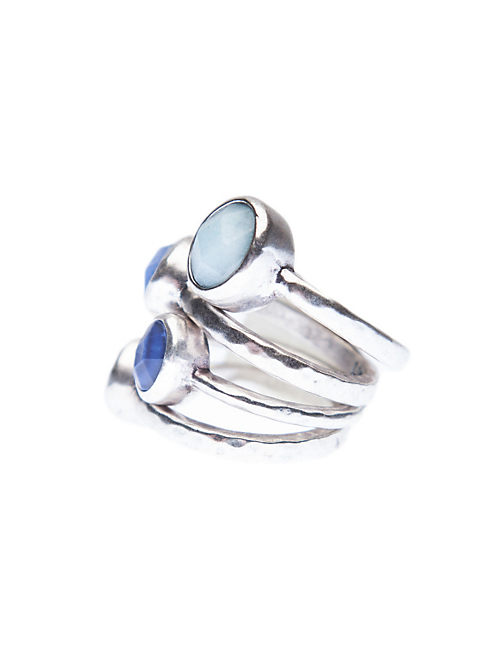 SET STONES STACK RING, SILVER