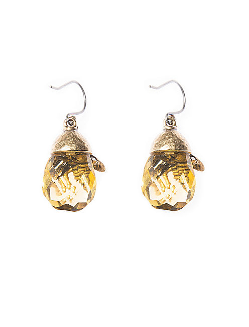 BEE STONE DROP EARRING, 715 GOLD