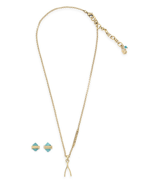 WISHBONE PENDANT&STUD SET, MULTI