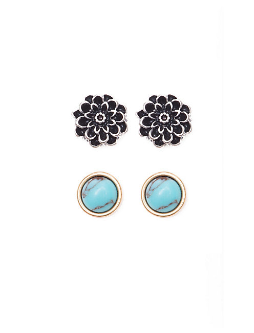 FLOWER STUD SET EARRINGS, MULTI-COLOR