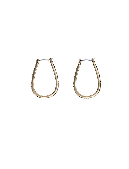 PAVE OBLONG HOOP EARRING, 715 GOLD