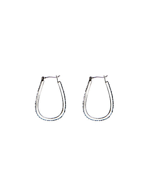 PAVE OBLONG HOOP EARRING, SILVER