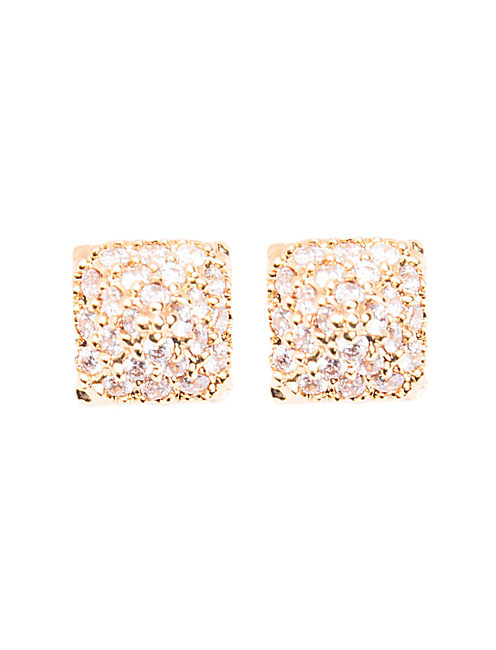 PAVE PYRAMID STUD EARRING, 715 GOLD