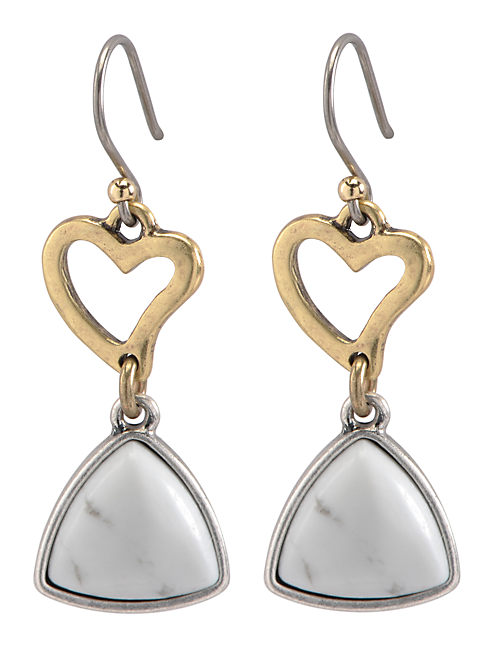 HEART STONE DROP EARRING, MULTI