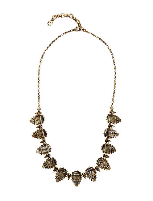 BLACK SET STONE NECKLACE, 715 GOLD