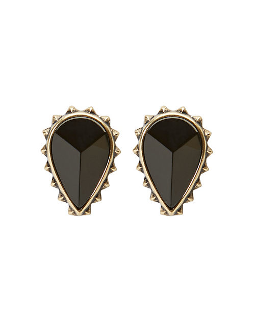 BLACK STONE STUD SET, 715 GOLD