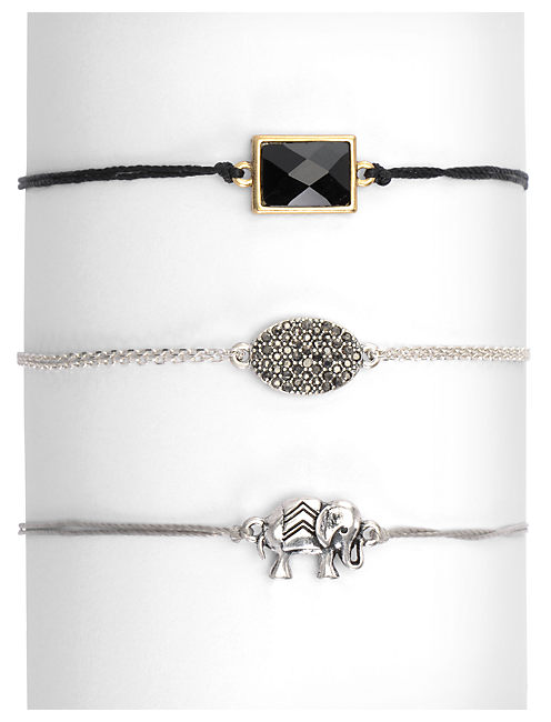 ELEPHANT TRIPLE BRACELET, MULTI-COLOR
