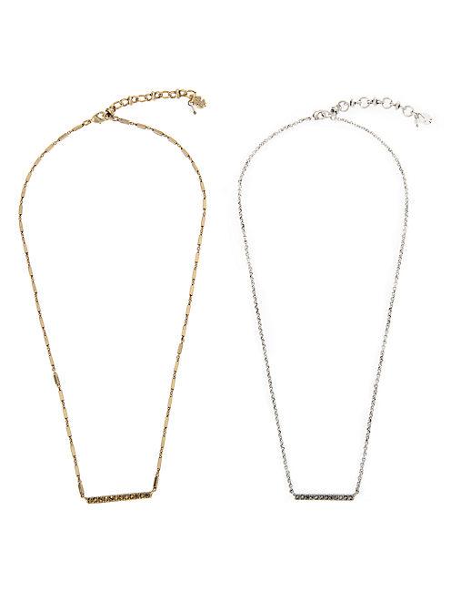 PAVE PLAQUE NECKLACE DUO, MULTI