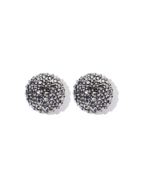SILVER PAVE BUTTON STUD, SILVER