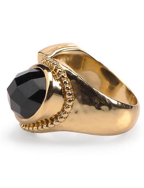 BLACK STONE RING, 715 GOLD