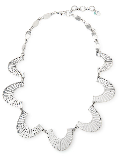 OPENWORK COLLAR NECKLACE, SILVER