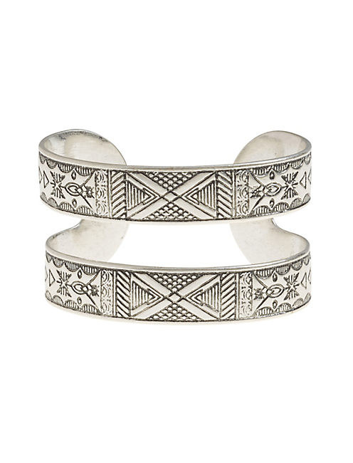 ETCHED TRIBAL CUFF, SILVER