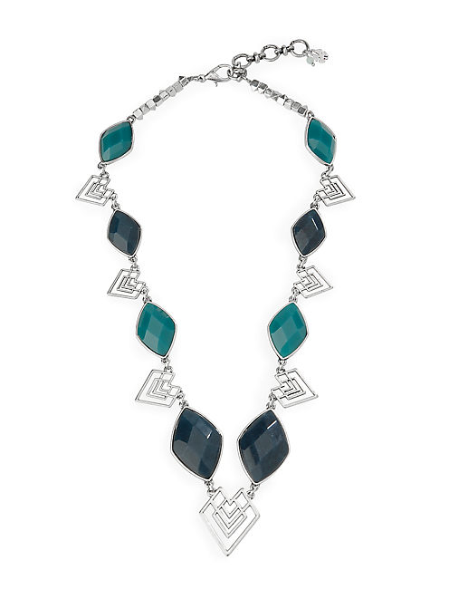 SET STONE TRIBAL NECKLACE, SILVER