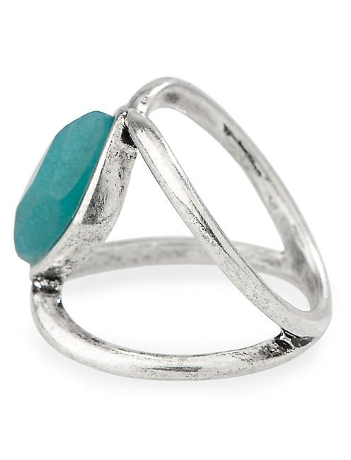TRIBE FECTA STONE RING, SILVER