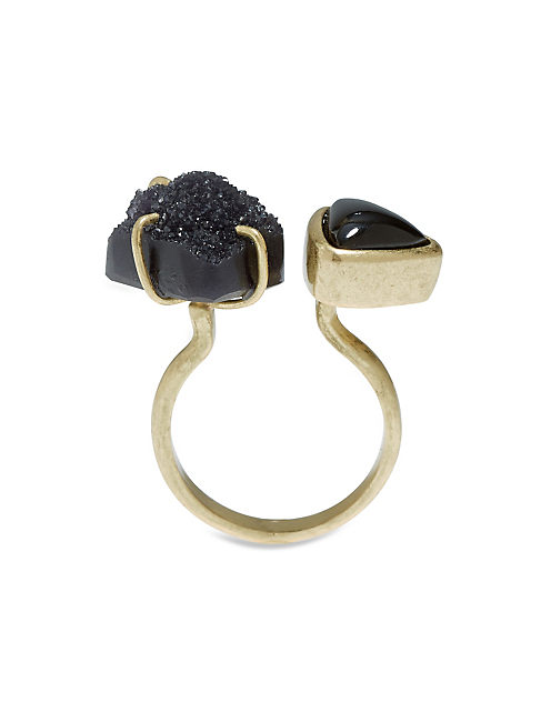 DOUBLE STONE RING, 715 GOLD