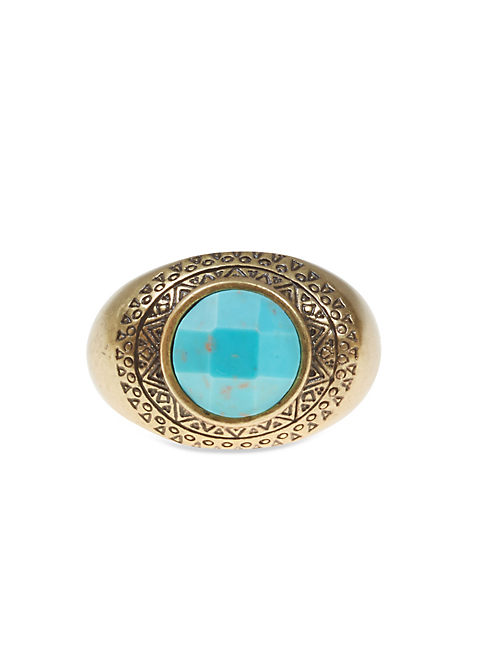TURQ STATEMENT RING, 715 GOLD