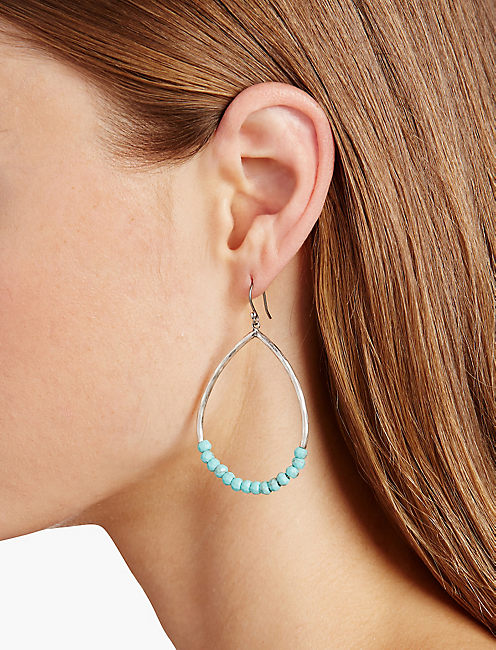 Lucky Turquoise Beaded Hoop