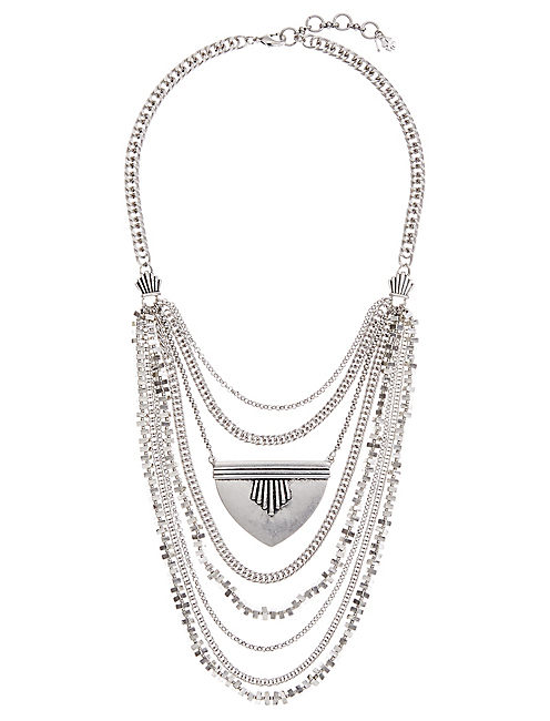MAJOR SILVER BIB NECKLACE, SILVER