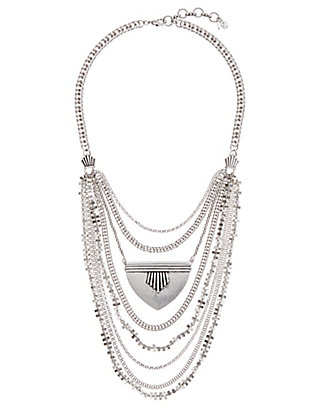 LUCKY MAJOR SILVER BIB NECKLACE