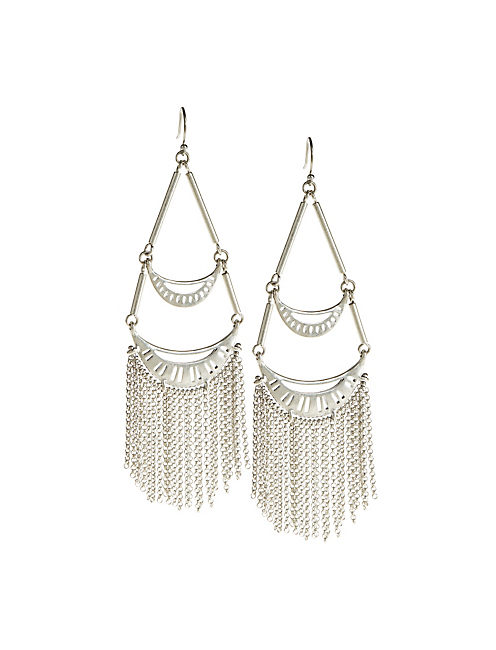 SILVER FRINGE EARRINGS,