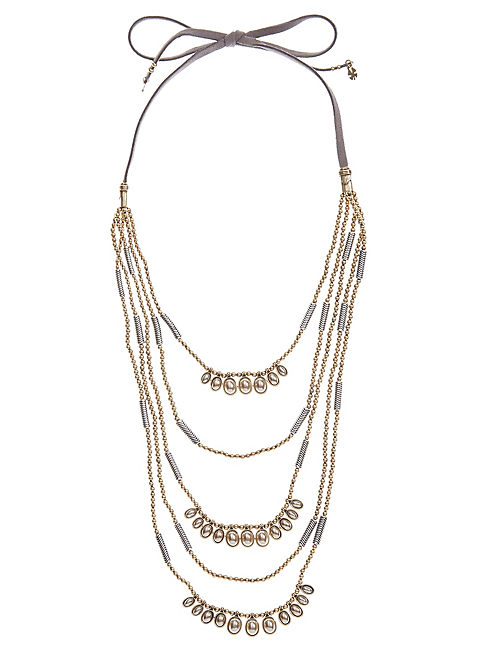 TWO TONE BEADED LEATHER NECKLACE,