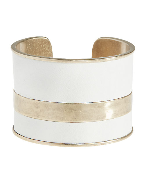 WHITE LEATHER CUFF, GOLD