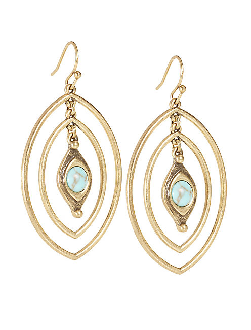 SET STONE EARRING, GOLD