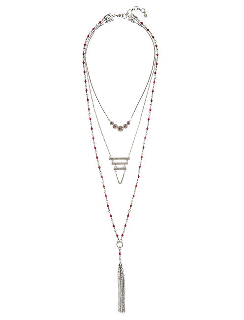 RED LUCKY LAYERS NECKLACE, SILVER