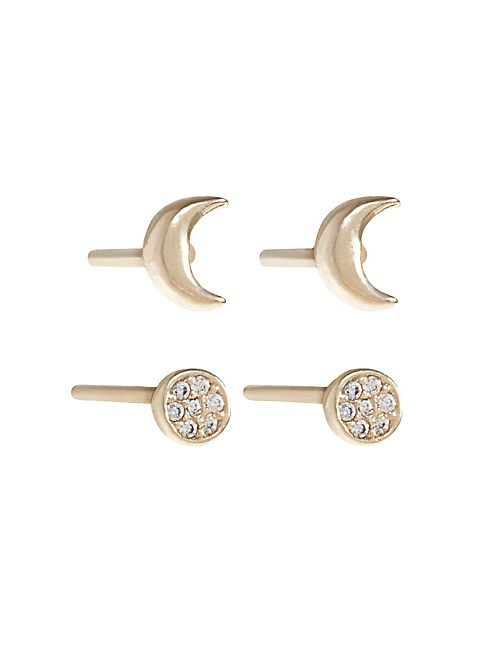 DELICATE GOLD MOON STUDS,