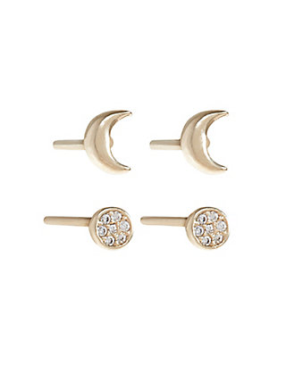 LUCKY DELICATE GOLD MOON STUDS