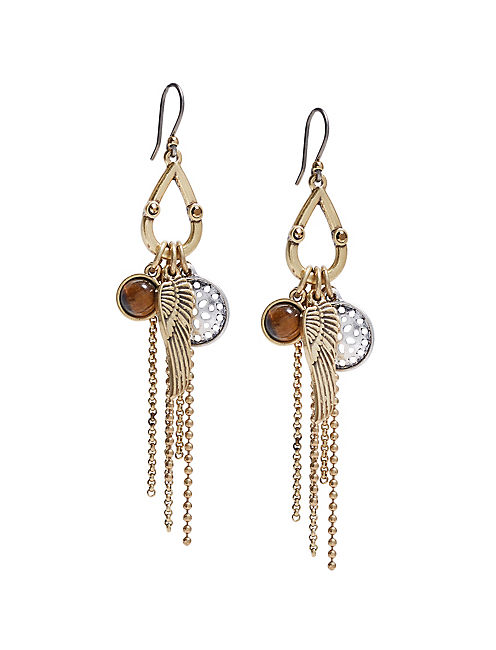 TWO TONE CHARM EARRINGS,