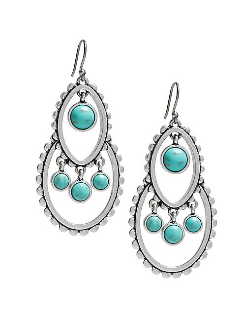 TURQUOISE TRIBAL EARRINGS, SILVER