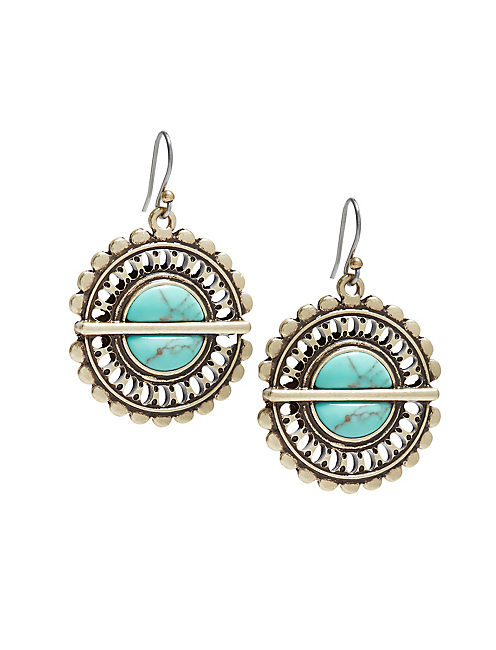 TURQUOISE DROP EARRINGS, GOLD